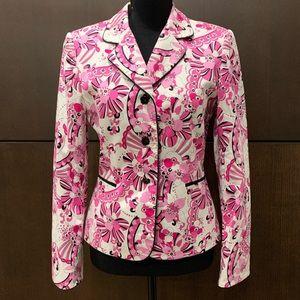 Tahari Arthur Levine Jacket white pink floral 6